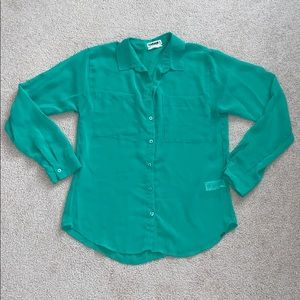 Garage // Green Chiffon Button Up Shirt XS